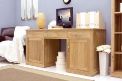 Light Oak Large Hidden Pedestal Desk