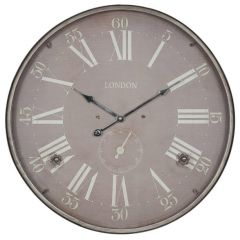 London Rustic Silver Metal Wall Clock
