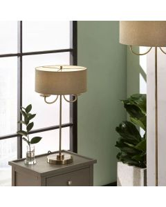 Madeleine Antique Brass Metal Candelabra Table Lamp