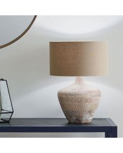 Manaia White Wash Textured Wood Table Lamp - Base Only