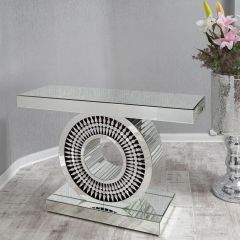 Manor Mirrored Segmented Round Console Table