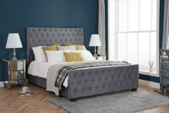Marcus King Size Grey Velvet Effect Bed Frame