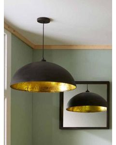 Matt Black and Gold Leaf Dome Pendant