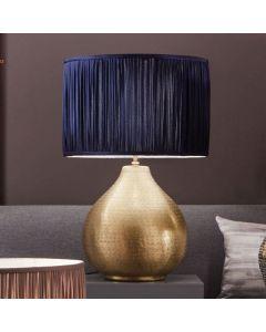 Matt Brass Hammered Metal Table Lamp - Base Only