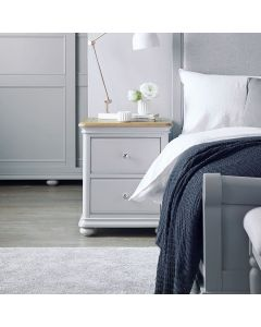 Mendes Soft Grey 2 Drawer Bedside Cabinet