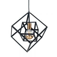 Metal Matt Black 2 Cube Pendant