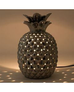 Metallic Silver Ceramic Pineapple Table Lamp
