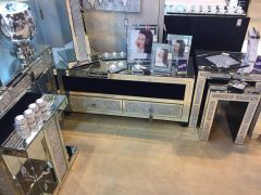Milano Clear Mirrored Crystal TV Unit