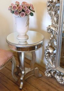 Mirrored Antique Round Side Table
