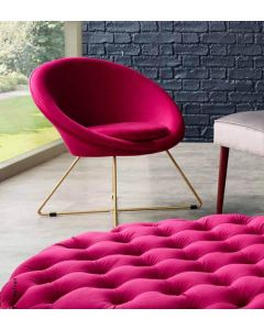Mito Raspberry Velvet Retro Chair with Gold Metal Legs