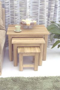 Modern Light Oak Nest of 3 Coffee Tables