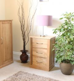 Modern Light Oak Three Drawer Lamp Table