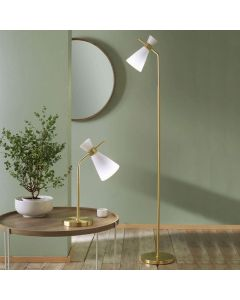 Monroe White Glass and Gold Metal Floor Lamp