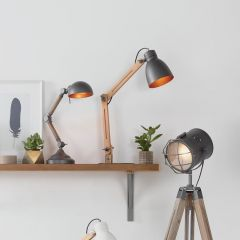Breeze Rustic Wood Task Table Lamp