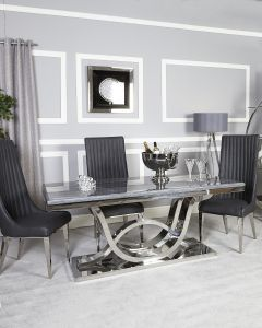 Neptune Grey Marble Dining Set