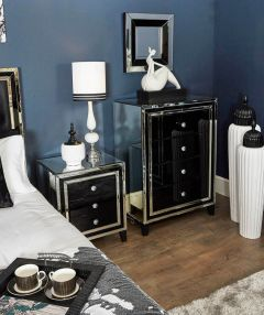 New York Mirrored 3 Drawer Chest With Black Front