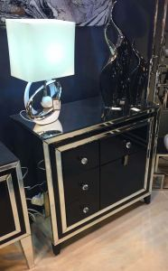 New York Mirrored Cabinet With Black Front