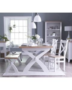 Newholme White Cross Leg Extending Table