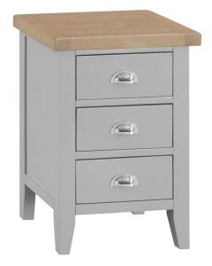 Newsome Grey Oak 3 Drawer Bedside Cabinet