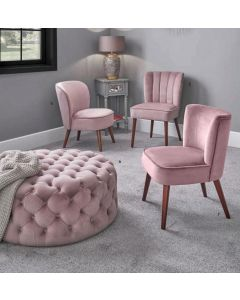 Nica Blush Pink Velvet Dining Chair Walnut Finished Legs