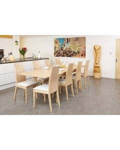 Oiled Light Oak Designer Extending Dining Table