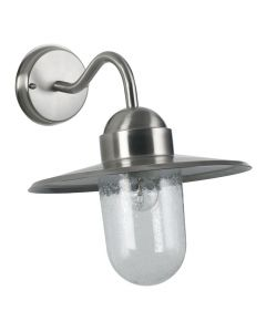 Outdoor Brushed Steel Metal and Glass Fisherman Wall Light