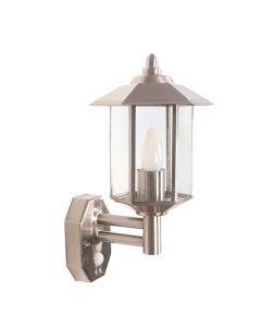 Outdoor Brushed Steel Metal Pagoda PIR Wall Light