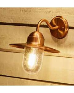 Outdoor Copper Metal and Glass Fisherman Wall Light