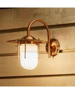 Outdoor Copper Metal and Opaque Glass Wall Light