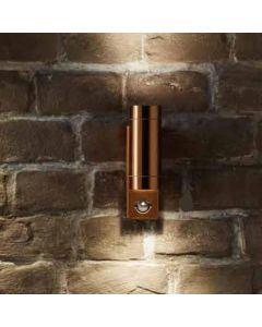 Outdoor Copper Metal Dual PIR Wall Light