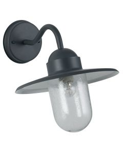 Outdoor Dark Grey Metal and Glass Fisherman Wall Light