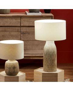 Palawan Matt Grey Feather Stoneware Table Lamp - Base Only