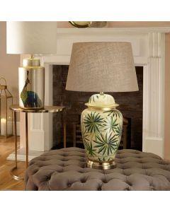Palm Leaf Design Ceramic Urn Table Lamp - Base Only