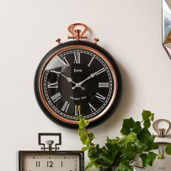 Black and Copper Retro Wall Clock