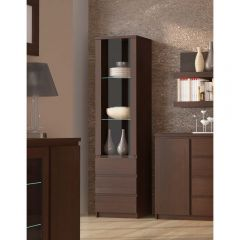 Pello Tall Narrow 1 Door 3 Drawer Glazed Display Cabinet In Dark Mahogany