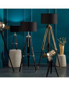 Port Antique Brass Metal & Dark Wood Tripod Floor Lamp - Base Only