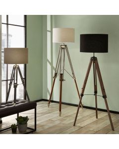 Port Nickel and Wood Tripod Floor Lamp - Base Only