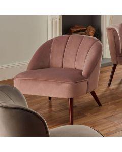 Portofino Blush Pink Velvet Cocktail Chair with Walnut Effect Legs