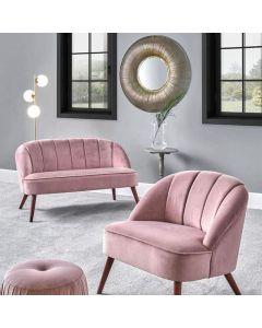 Portofino Blush Pink Velvet Sofa with Walnut Effect Legs