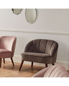 Portofino Dove Grey Velvet Cocktail Chair with Walnut Effect Legs