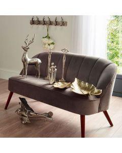 Portofino Dove Grey Velvet Sofa with Walnut Effect Legs