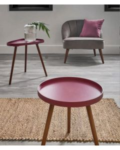 Raspberry Pink and Pine Round Side Table