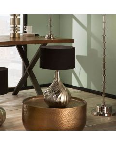 Raw Silver Metal Twist Table Lamp - Base Only