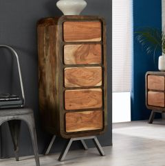 Reclaimed Iron and Wood Chest of Drawers