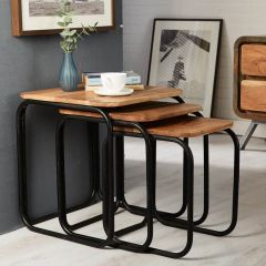 Reclaimed Iron and Wood Nest of Side Tables