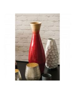 Red and Natural Bottle Bamboo Vase