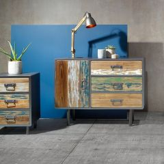 Reclaimed Wood & Black Metal Sideboard