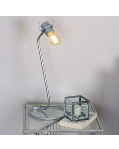 Retro Industrial Silver Metal Table Lamp