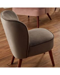 Rimini Dove Grey Velvet Chair with Walnut Effect Legs