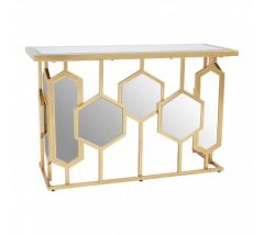 Rio Gold  Mirror Glass Console Table